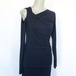 Anthropologie Bailey 44 Navy LS Midi Twist Dress S